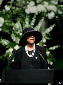 Lonnie Ali, widow of Muhammad Ali, speaks during his memorial service in Louisville, Ky., June 10, 2016.