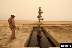 Lapangan minyak Sinbad dekat perbatasan Basra, Irak, 2018.