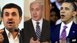 마흐무드 아흐마디네자드(좌) 이란 대통령, 베냐민 네타냐후(중앙) 이스라엘 국무총리, 버락 오바마(우) 미국 대통령.