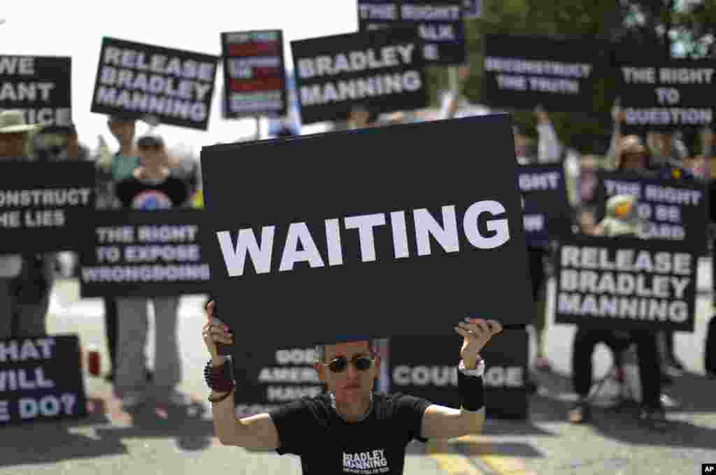 Laurie Arbeiter of Brooklyn, N.Y., during a demonstration in support of Bradley Manning outside Fort Meade, June 1, 2013.