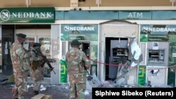 South Africa military soldiers on patrol during riots