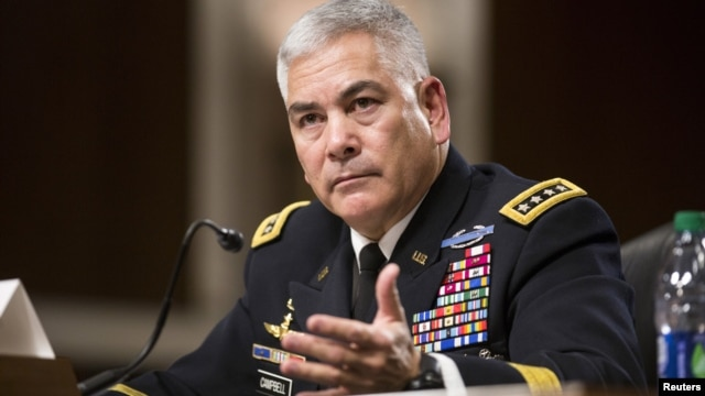 "FILE - U.S. Army General John Campbell, commander of the Resolute Support Mission and United States Force - Afghanistan, testifies before a Senate Armed Services Committee hearing on ""The Situation in Afghanistan"" on Capitol Hill in Washington, Oct. 6, 2015."