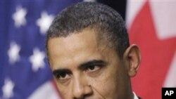 Shugaban Amurka Barack Obama a wani tqron manema labarai yana magana kan Masar
