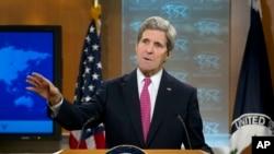 Secretário de Estado John Kerry na apresentação do Relatório