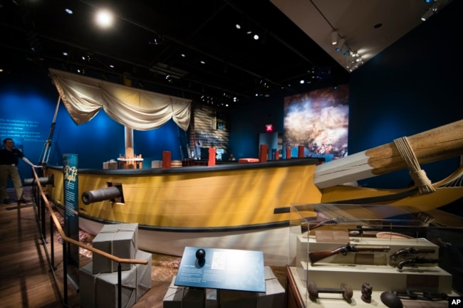 Photo shows a replica of a privateer ship at the Museum of the American Revolution in Philadelphia.