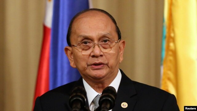 FILE - Burmese President Thein Sein delivers a speech to the media.
