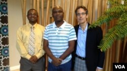 VOA's Ronald Cesar (L) with Radio Télé Caraibes' Patrick Moussignac (C) and BBG's Bruce Sherman.