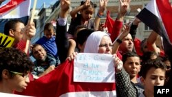8月18日﹐反對埃及軍隊使用武力鎮壓的示威人士手持埃及國旗﹐在位於布魯塞爾歐盟總部門外抗議。