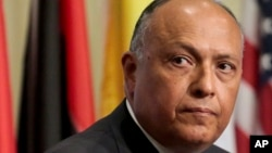 FILE -- In this May 11, 2016 file photo, Egypt's Foreign Minister Sameh Shoukry listens during a press conference after heading a Security Council meeting on terrorism, at U.N. headquarters.