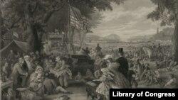 """""""დღე, რომელსაც ვზეიმობთ"""" - დამოუკიდებლობის დღე, 1876 წლის ფერწერა."""