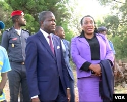 Jean Abate Edii, governor of North Cameroon and Regine Esseneme, head of Cameroon's department of justice are seen in the northern town of Garoua, Cameroon, Dec. 15, 2019. (Moki Edwin Kindzeka/VOA)