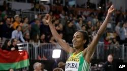 L'Ethiopienne Genzebe Dibaba, championne du monde du 1.500 m, ici lors d'un 3 000 m le 20 mars 2016 à Portland, Oregon, États-Unis.