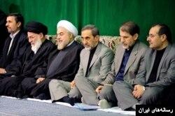 آقای محصولی (نفر دوم از راست) در یکی از مراسم حضور در دفتر رهبر در کنار مقامات ارشد جمهوری اسلامی