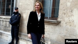 Spain's Princess Cristina, daughter of King Juan Carlos, arrives at a courthouse to testify before judge Jose Castro over tax fraud and money-laundering charges in Palma de Mallorca, Feb. 8, 2014.