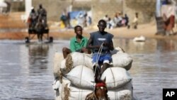 Horse cart drivers transport goods and passengers through deep flood waters in Sicap Mbao, a neighborhood on the outskirts of Dakar (file)