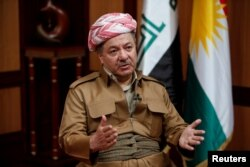 FILE - Iraq's Kurdistan region's President Massoud Barzani speaks during an interview with Reuters in Erbil, Iraq, July 6, 2017.