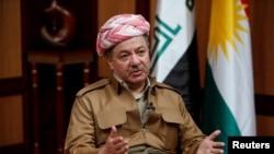 FILE - The Iraqi Kurdistan region's president, Massoud Barzani, speaks during an interview with Reuters in Irbil, Iraq, July 6, 2017.