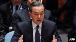 MInis Afè Etranjè chinwa a, Wang Yi, ki t ap pran lapawòl nan Konsèy Sekirite l'ONU an jedi 27 septanm 2018.
