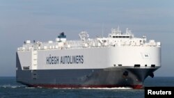 FILE - Undated file photo of Norwegian car carrier Hoegh St. Petersburg at sea.