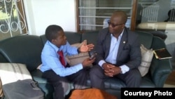 United Democratic Front presidential candidate Atupele Muluzi answers question by Capital Radio reporter Rhodes Msonkho. (Photo Courtesy Rhodes Msonhko)