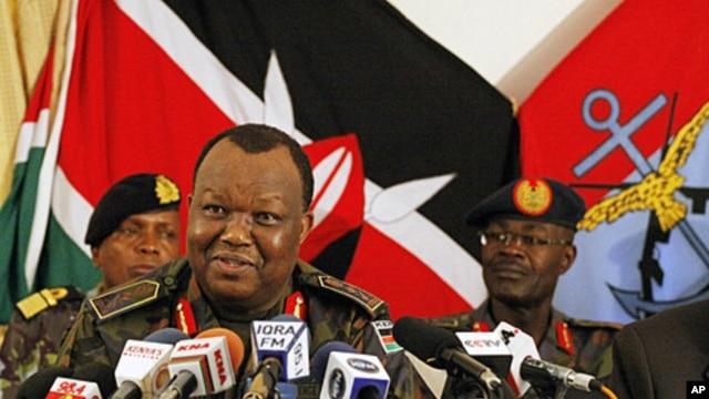 General Julius Karangi, Kenyan (CDF) Chief of the Defense Force, speaks to journalists at a military press briefing in Nairobi. Kenya, October 29, 2011.