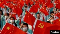 Diễn tập lễ kỷ niệm 100 năm thành lập Đảng Cộng sản Trung Quốc tại Thiên An Môn, Bắc Kinh, ngày 1/7/2021.