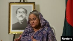 Bangladeshi Prime Minister, Sheikh Hasina speaks during an interview at Grand Hyatt Hotel in Manhattan, New York, U.S. September 25, 2018. Picture taken September 25, 2018. To match Exclusive BANGLADESH-POLITICS/ REUTERS/Amr Alfiky - RC1C98DB6E40