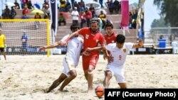 ملی پوش تیم ساحلی افغانستان در رقابت با ملی پوشان چین
