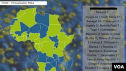 Takwimu za maambukizo ya virusi vya corona Afrika.