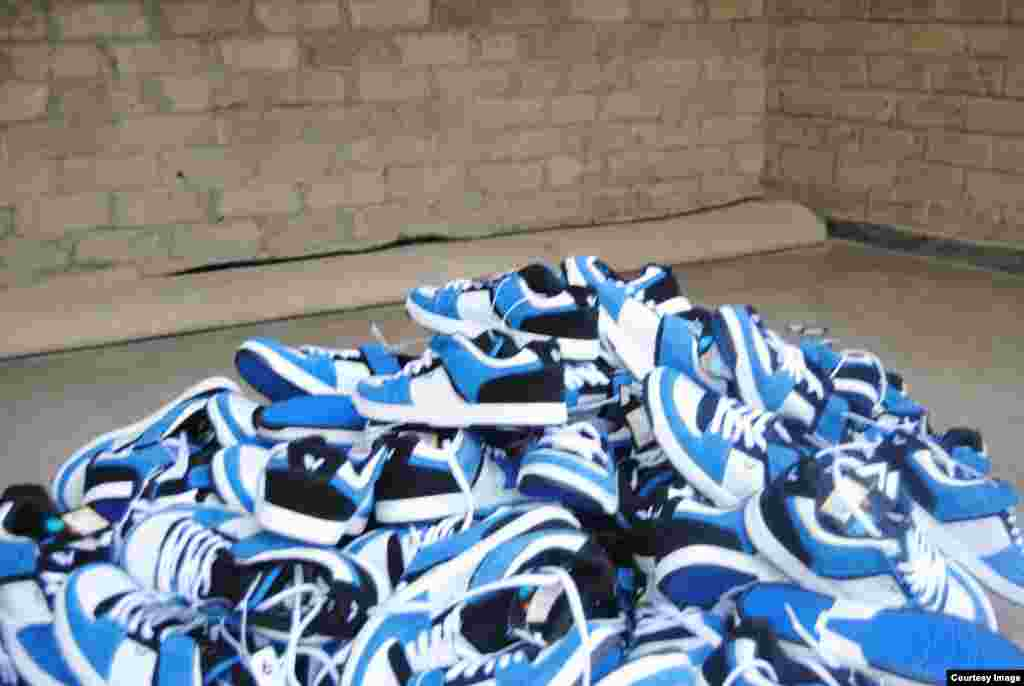 Some of the shoes donated by well-wishers in USA for poor Zimbabwean children. (Photo: Noah Manyika)