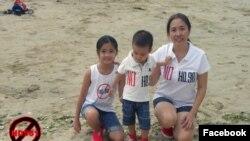Blogger Mẹ Nấm - Nguyễn Ngọc Như Quỳnh và hai con nhỏ.