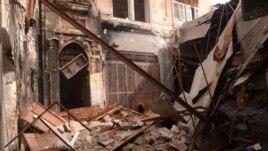25일 시리아 정부군과 반군 간의 충돌이 있은 ,후 폐허가 된 알레포 옛 도시.