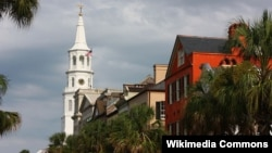 Broad Street in Charleston with steeple of St Michael's Church