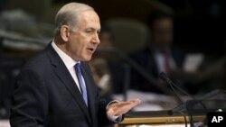 Биньямин Нетаньяху выступает на заседании Генеральной Ассамблеи ООН в Нью-Йорке. 27 сентября 2012 г.