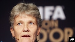 Swedish coach of the US women's soccer team Pia Sundhage attends a press conference in Zurich, Switzerland, Jan. 9, 2012.