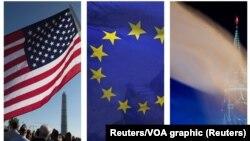 Zastave Sjedinjenih Država, Evropske unije i Rusije, ilustrativna fotografija