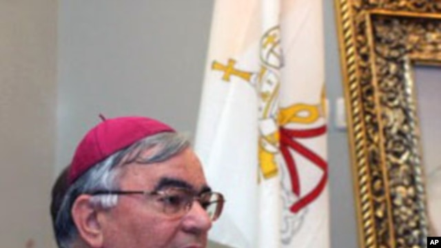 Auxiliary Bishop of Nazareth Giacinto-Boulos Marcuzzo speaks during a press conference at Notre Dame of Jerusalem, (File)