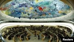 عکس آرشیوی از نشست شورای حقوق بشر سازمان ملل متحد در مقر اروپایی آن سازمان در شهر ژنو سوئیس
