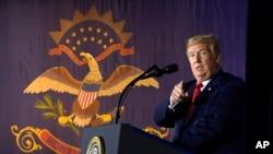 도널드 트럼프 미국 대통령이 7일 노스다코타주 파고에서 열린 정치행사에서 연설하고 있다.