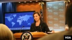 美國國務院發言人盧嵐說國務院支持VOA聲明(美國之音張蓉湘拍攝)