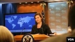 美国国务院发言人卢岚说国务院支持VOA声明(美国之音张蓉湘拍摄)