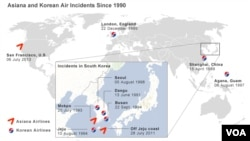 Map of Asiana and Korean Air incidents since 1990.