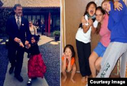 右:2014年公和人物、前中央民族学院美籍教师卢百可和他的女儿们。左:卢百可和小女儿,看这孩子的小鸟依人的动态神情,能知道这因祸得福的孩子有多幸福(卢百可提供)