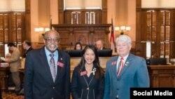 Từ trái sang, các Dân biểu bang Georgia: Al Williams, Bee Nguyễn và Bill Hitchens. Photo Twitter Bee Nguyen