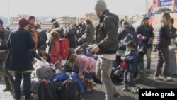 Greece is continuing to move migrants off the islands to the mainland, where these migrants just arrived.