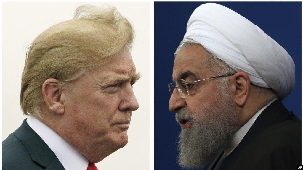 En esta combinación de dos fotos, el presidente de EE.UU., Donald Trump, a la izquierda y el presidente iraní Hassan Rouhani.