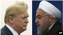 Kombinasi foto Presiden AS Donald Trump (kiri), 22 Juli 2018 dan Presiden Iran Hassan Rouhani, 6 Februari 2018. (Foto: dok)