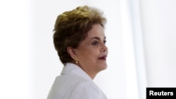Brazil's President Dilma Rousseff attends a meeting with educators at the Planalto Palace in Brasilia, Brazil, April 12, 2016.