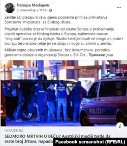 Facebook sreenshot of post from Nebojsa Medojevic, politician from Montenegro