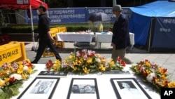 位於首爾的日本駐韓國大使館附近陳列著已故韓國慰安婦的肖像。 (2021年4月21日)